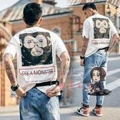短袖T恤 爐品夏季日系男士短袖印花嘻哈潮流港風圓領T恤情侶寬鬆體恤潮牌 2色M-2XL 交換禮物