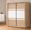 【森可家居】金美5.2尺推門衣櫃 7ZX132-8 拉門 衣櫃 白色 木紋質感 無印風 北歐風 衣物收納