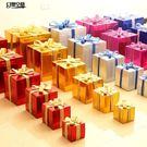 聖誕節裝飾品 禮物盒 紙質亮光禮盒道具商場櫥窗場景布置擺件10-20cm