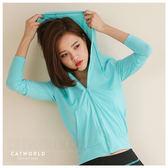 Catworld 純彩亮色連帽運動外套【15003526】‧S/M/L/XL/XXL