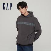 Gap男裝 碳素軟磨系列 Logo法式圈織寬鬆連帽休閒上衣 731818-炭黑色