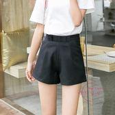 雪紡短褲女夏季黑色西裝褲高腰闊腿鬆緊腰加大尺碼寬鬆百搭熱褲XS-4XL