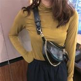 2020網紅新款褶皺腰包小香風菱格包圓環飾手提側背包斜背胸包包女