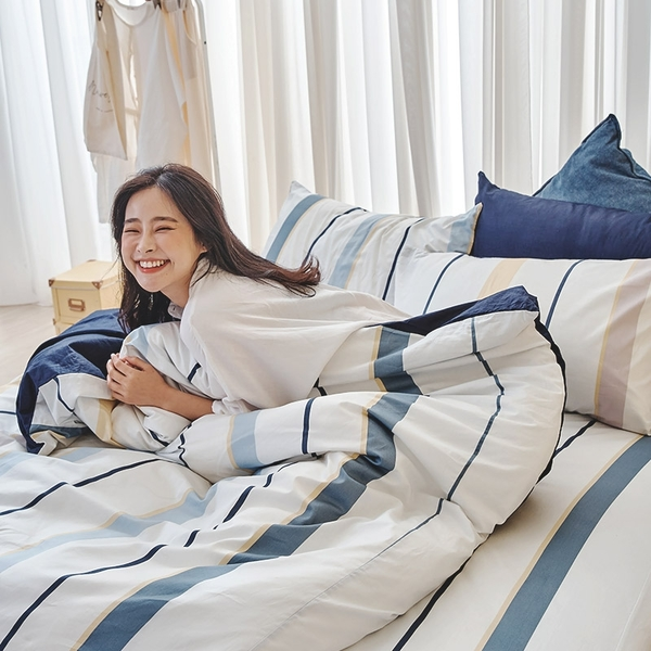 床包兩用被組 / 雙人【暮晨光線-藍】含兩件枕套 100%精梳棉 戀家小舖台灣製AAS215