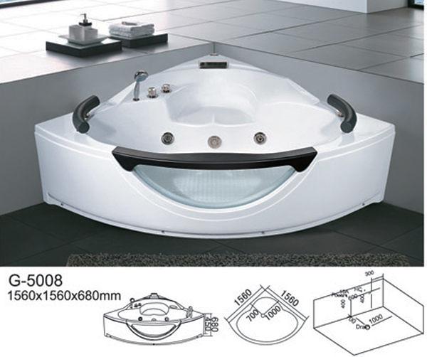 【麗室衛浴】BATHTUB WORLD 扇形 人體工學設計款 按摩浴缸 G-5008 1560*1560*680mm