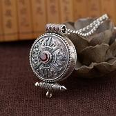 925純銀項鍊+墜子-嘎烏盒仿古圓型鑲紅鋯石男女飾品73ux15【時尚巴黎】