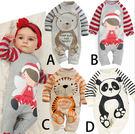 春秋季歐美嬰兒服裝哈衣 全棉熊猫長袖印花新生兒連身衣
