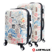 AIRWALK LUGGAGE - 精彩歷程 環郵世界行李箱20+28吋二箱組- 各地米白