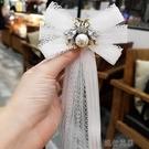 領結 法式浪漫白色蕾絲蜜蜂襯衫領結百搭精致領花胸針優雅蝴蝶結飄帶女