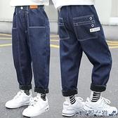 兒童牛仔褲 男童牛仔褲兒童加絨褲子2020冬裝新款中大童加厚一體絨外穿長褲潮 快速出貨
