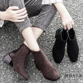 馬丁靴女英倫風百搭短靴女單靴粗跟短靴子顯瘦【時尚大衣櫥】