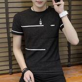 短袖T恤 夏季條紋修身潮流百搭學生青少年男T《印象精品》t132
