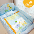 西川 GMP BABY 長頸鹿加厚七件棉被組(藍色).嬰兒床棉被組.純棉七件式寢具組【限量特價】