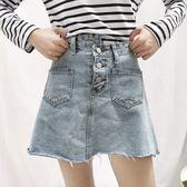 高腰不對稱a字半身裙牛仔包臀短裙學生女