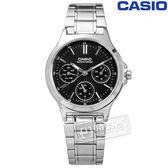 CASIO / LTP-V300D-1A / 卡西歐簡約三眼三針星期日期防水不鏽鋼手錶 黑色 32mm