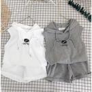 兒童男童2020夏季套裝韓版純棉無袖連帽短褲兩件套女童洋氣套裝潮