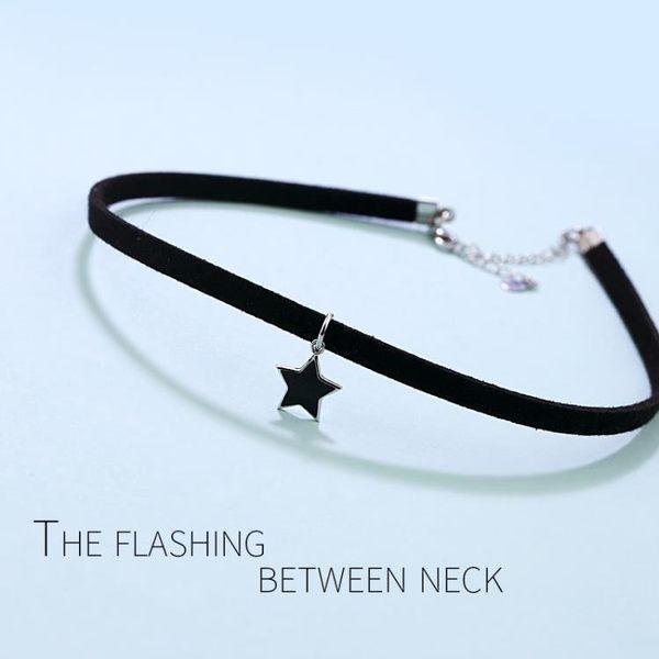 618大促 韓國版choker項圈頸鍊脖子飾品黑色鎖骨鍊頸帶少女925銀星星項鍊