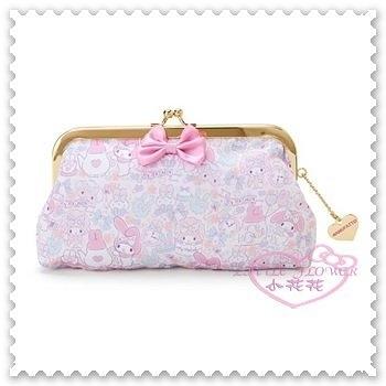 ♥小花花日本精品♥《Melody》美樂蒂 絲緞面珠扣 手拿包 收納包 化妝包 小物包 滿版圖 42216001