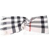 BURBERRY 100%喀什米爾石灰色大格紋羊毛圍巾(200x36CM) 1630277-03