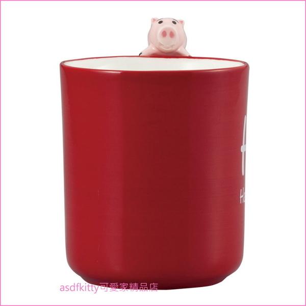 迪士尼玩具總動員 邪惡豬排博士 火腿豬 立體造型把手陶瓷馬克杯-杯緣子-日本正版