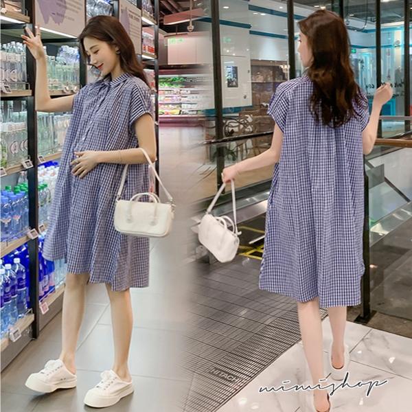 孕婦裝 MIMI別走【P521439】Chic寬襬顯瘦 格子襯衫裙 孕婦洋裝 開扣哺乳裙