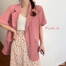 網紅薄款小個子氣質短袖西裝外套女夏季2020新款韓版洋氣ins西服