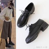配西裝的小皮鞋女英倫復古配裙子學院風秋季日系中跟皮鞋加絨冬jk 創時代3c館