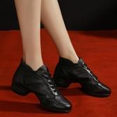 舞蹈鞋女軟底冬季加絨成人帶中跟黑色真皮跳舞鞋廣場爵士水兵舞鞋