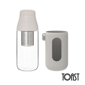 TOAST SCENE 隨身玻璃濾茶瓶 500ml-象牙白(附隔熱套)