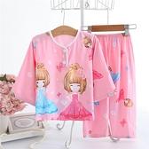 女寶寶睡衣夏季1-3歲女童薄款棉綢2空調服4兒童春秋季家居服套裝5