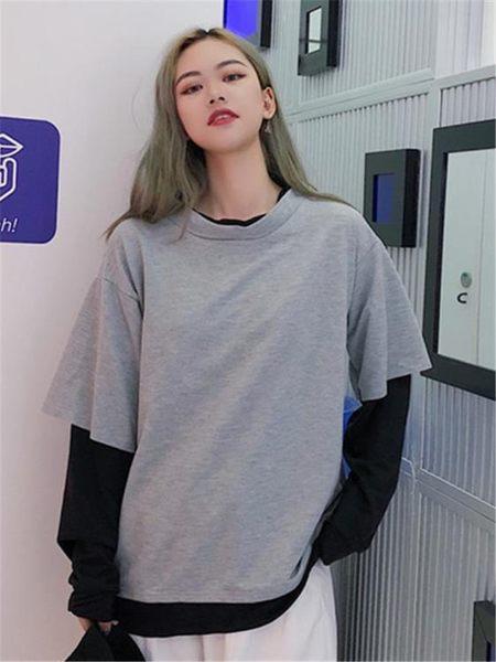 假兩件連帽T恤韓版寬鬆女bf外套 ins潮薄款上衣 安妮塔小舖