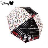 日本限定 迪士尼 米奇&米妮  滿版英字點點星星 直立傘 / 雨傘