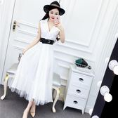 連衣裙女夏2018新款名媛氣質西裝領無袖高腰拼接網紗大擺長裙禮服