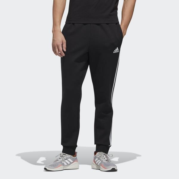 Adidas ESSENTIALS 男裝 長褲 慢跑 訓練 鬆緊腰 彈性 三條線 縮口 棉質 黑【運動世界】GK0621