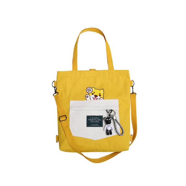 韓版柴犬印花 帆布包 柴犬包 萌寵 學院風 雙肩包 托特包 一包多用【Z90704】