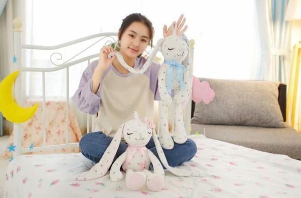 【55公分】星星領結兔玩偶 可愛長腿長耳朵小白兔娃娃 聖誕節交換禮物 店面擺設 婚禮小物