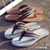 夏季英倫人字拖 男士木紋編織帶拖鞋耐磨防滑夾拖沙灘鞋潮