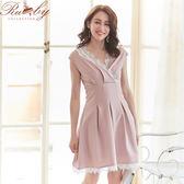 洋裝 花朵蕾絲V領假兩件無袖洋裝-粉紅色-Ruby s 露比午茶