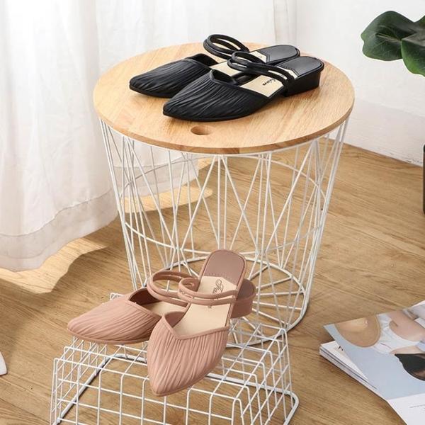 低跟鞋 夏季塑膠涼鞋女外穿媽媽鞋時尚涼拖鞋懶人鞋春秋果凍尖頭軟