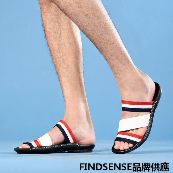 FINDSENSE品牌  新款 日本 男 高品質 簡約 真皮 撞色 舒適沙灘鞋