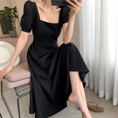 洋裝~女法式赫本小黑裙顯瘦法式復古氣質方領過膝長款連身裙2F054-D胖妞衣櫥