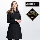 JORDON 女GORE-TEX長版時尚防水透氣風衣1954黑(送羽絨套合內件)