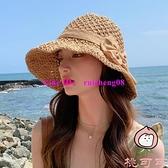編織漁夫帽草帽蝴蝶結韓版遮臉太陽帽遮陽防曬帽子【桃可可服飾】