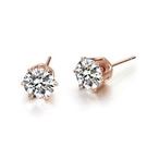 925純銀 玫瑰金六爪單鑽 天然白水晶 耳環耳釘針-3mm、5mm 防抗過敏