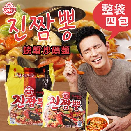 韓國 不倒翁 螃蟹炒碼麵 (四包入) 螃蟹海鮮麵 炒碼麵 金螃蟹海鮮拉麵 海鮮麵 泡麵 韓國泡麵 消夜