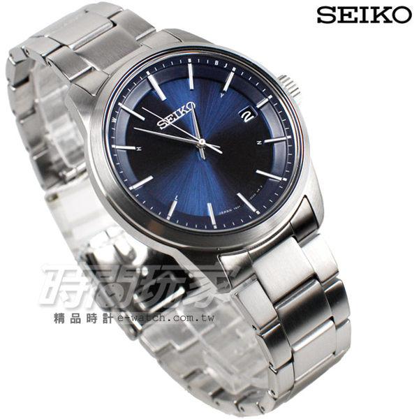 SEIKO 精工錶 SPIRIT 萬年曆 太陽能 電波 藍色 男錶 SBTM231J 7B24-0BJ0B 日期視窗