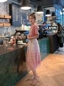 紗裙 小穀粒漸變粉色蛋糕裙中長款網紗a字半身裙女適合胯大腿粗的裙子雙12