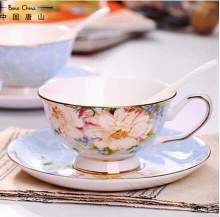 歐式骨瓷咖啡杯套裝 創意陶瓷咖啡杯碟 英式紅茶杯 歐式咖啡杯(麗日歐式杯碟勺套裝)