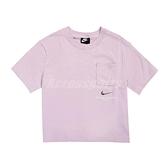 Nike 短袖T恤 NSW T-Shirt 紫 銀 女款 立體凸紋 短版設計 運動休閒 【ACS】 CZ8912-576