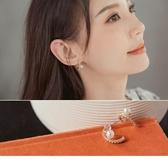 《ZC1890》優雅半月珍珠點鑽耳針式耳環(925銀針) OrangeBear